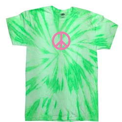 Kids Peace Tie Dye Shirt Pink Peace Neon Kiwi Twist Youth Tie Dye Tee