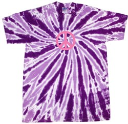Kids Peace Tie Dye Shirt Pink Peace Purple Twist Youth Tie Dye Tee