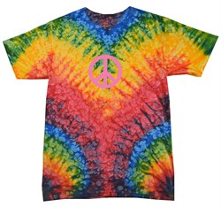 Kids Peace Tie Dye Shirt Pink Peace Woodstock Youth Tie Dye Tee