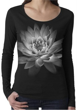 Image of Ladies Long Sleeve Yoga Shirt - Pretty Lotus Flower
