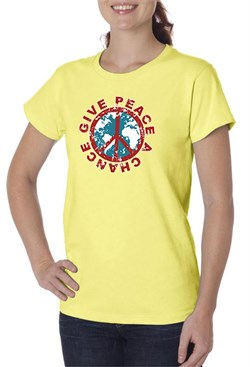 Ladies Peace Shirt Give Peace a Chance Organic Tee T-Shirt