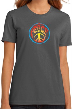 Ladies Peace Shirt Psychedelic Peace Organic Tee T-Shirt