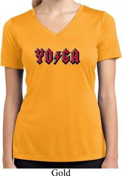 Image of Ladies Shirt Classic Rock Yoga Moisture Wicking V-neck Tee
