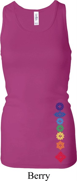 Ladies Tank Floral Chakras Bottom Print Longer Length Racerback Tank