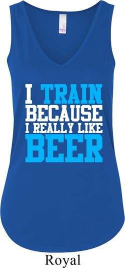 Ladies Tanktop I Train For Beer Flowy V-neck Tank Top