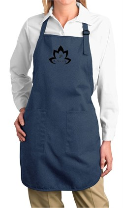 Image of Ladies Yoga Apron Black Namaste Lotus Full Length Apron with Pockets