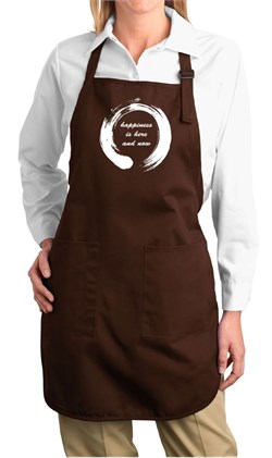 Image of Ladies Yoga Apron Enso Happiness Full Length Apron with Pockets