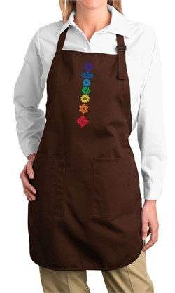 Image of Ladies Yoga Apron Floral Chakras Full Length Apron with Pockets