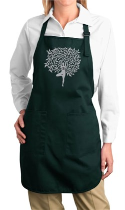 Image of Ladies Yoga Apron Grey Tree Pose Full Length Apron with Pockets
