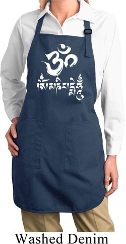 Image of Ladies Yoga Apron OM Mani Padme Hum Full Length Apron with Pockets