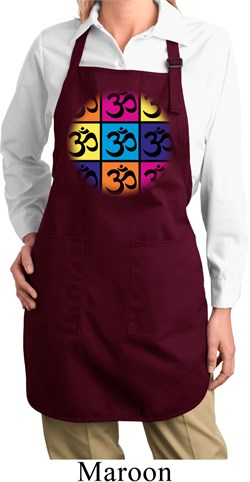Image of Ladies Yoga Apron Pop Art Om Full Length Apron with Pockets