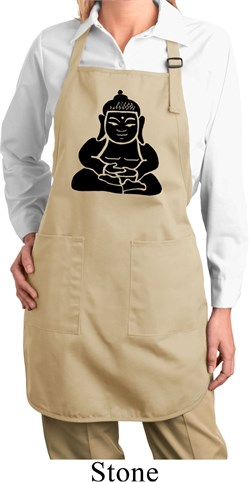 Image of Ladies Yoga Apron Shadow Buddha Full Length Apron with Pockets