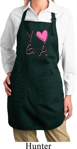 Image of Ladies Yoga Apron Yoga Love Full Length Apron with Pockets