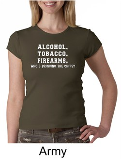 Law Enforcement Shirt Alcohol Tobacco Firearms Ladies Crew Neck Shirt