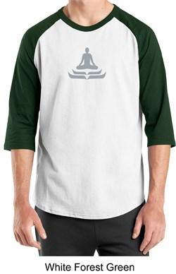 Mens Yoga T-shirt - Lotus Pose Meditation 3/4 Sleeve Raglan Shirt