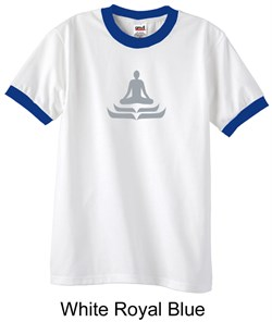 Mens Yoga T-shirt - Lotus Pose Meditation Ringer Shirt