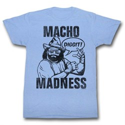 Macho Man Shirt Macho Madness Light Blue Tee T-Shirt