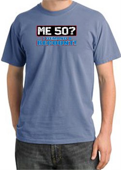 Image of 50th Birthday Pigment Dyed T-Shirt - Me 50 Years Night Blue Shirt