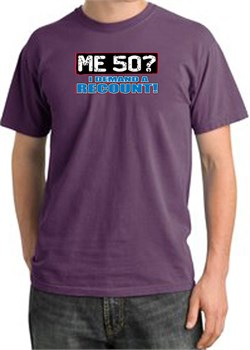 Image of 50th Birthday Pigment Dyed T-Shirt - Me 50 Years Plum Shirt