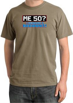 Image of 50th Birthday Pigment Dyed T-Shirt - Me 50 Years SandStorm Shirt