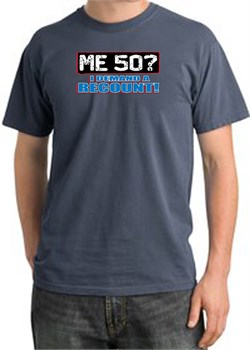 Image of 50th Birthday Pigment Dyed T-Shirt - Me 50 Years Scotland Blue Shirt