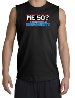 Image of 50th Birthday Shooter - Funny Me 50 Years Adult Black Muscle Shirt