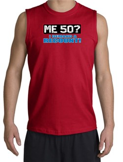Image of 50th Birthday Shooter - Funny Me 50 Years Adult Red Muscle Shirt