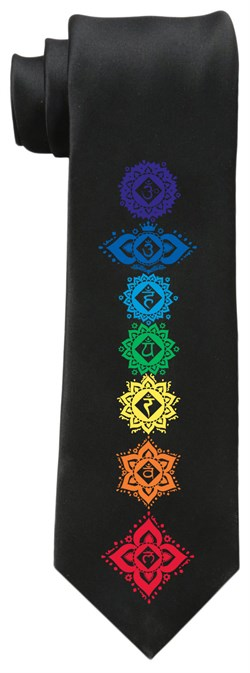 Image of Mens 7 Floral Chakras Yoga Necktie
