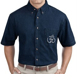 Image of Mens Aum Yoga Denim Shirt - 100% Cotton