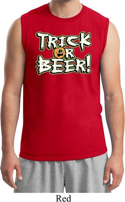 Mens Halloween Shirt Trick Or Beer Muscle Tee T-Shirt