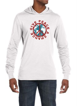 Image of Mens Peace Shirt Give Peace a Chance Lightweight Hoodie Tee
