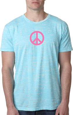 Mens Peace Shirt Pink Peace Burnout Tee T-Shirt