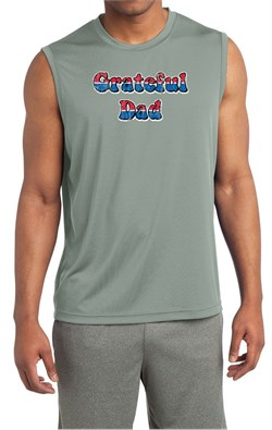 Mens Shirt Grateful American Dad Sleeveless Moisture Wicking Tee
