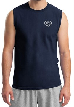 Mens Yoga Shirt OM Heart Pocket Print Muscle Tee T-Shirt