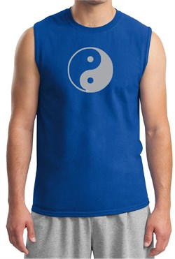 Mens Yoga Shirt Yin Yang Big Print Meditation Muscle Shirt