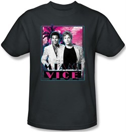 Miami Vice T-shirt Gotchya Tubbs And Crockett Adult Charcoal Tee Shirt