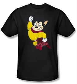 Mighty Mouse T-shirt - TV Series Classic Hero Adult Black Tee