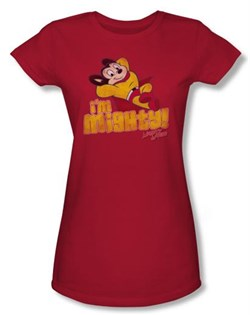 Image of Mighty Mouse Juniors T-shirt I'm Mighty Girly Red Tee