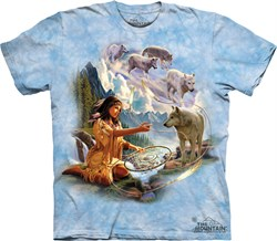 Native American Shirt Tie Dye Dreams of Wolf Spirit T-shirt Adult Tee