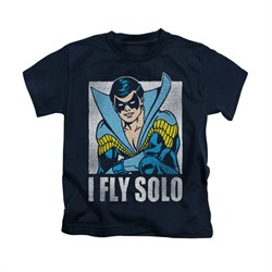 Nightwing DC Comics Shirt Fly Solo Kids Navy Blue Youth Tee T-Shirt