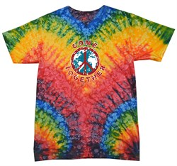 Image of Peace Tie Dye Shirt Come Together Woodstock Tie Dye Tee