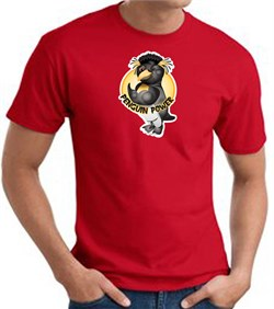 PENGUIN POWER Athletic Gym Workout T-shirt - Red