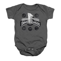 Image of Power Rangers Baby Romper Power Coins Charcoal Infant Babies Creeper