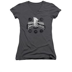 Image of Power Rangers Shirt Juniors V Neck Power Coins Charcoal T-Shirt