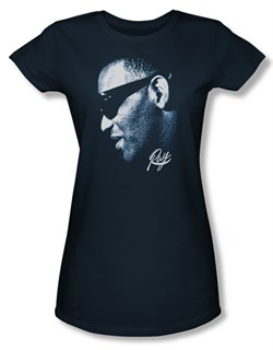 Ray Charles Juniors Shirt Blue Ray Navy Tee T-Shirt