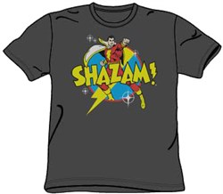 Image of Shazam T-shirt - Power Bolt DC Comics Adult Superhero Charcoal Tee