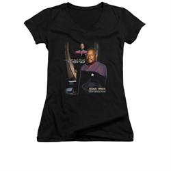 Star Trek - Deep Space Nine Shirt Juniors V Neck Captain Sisko Black Tee T-Shirt