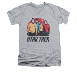 Star Trek - The Original Series Shirt Slim Fit V Neck Landing Party Athletic Heather Tee T-Shirt