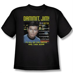 Image of Star Trek Kids Shirt Dr McCoy All of The Above Black Youth Tee T-Shirt
