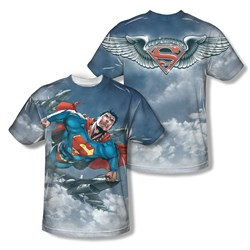 Image of Superman In The Sky Sublimation Kids Shirt Front/Back Print